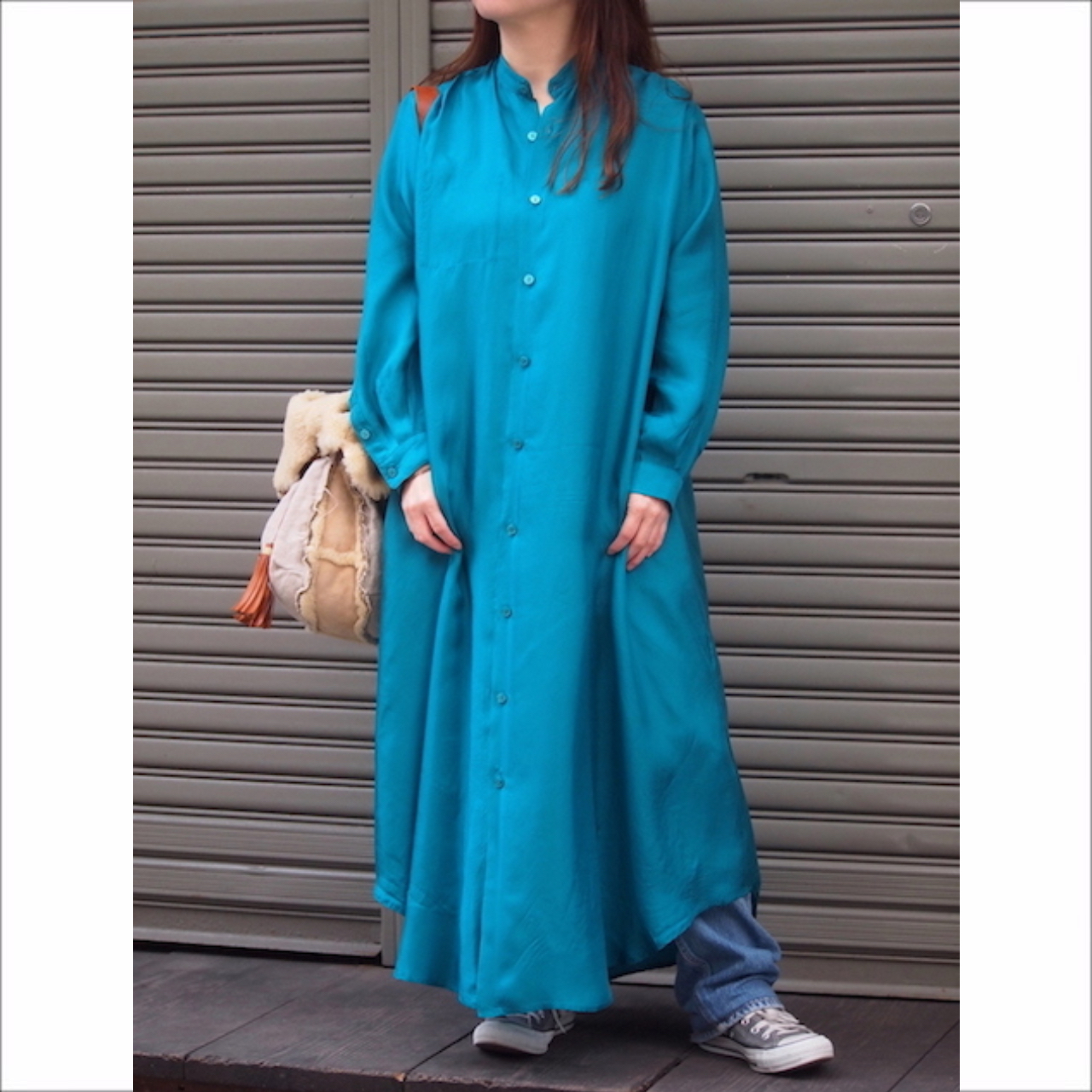 【hippiness】cupro long shirt one-piece/ 【ヒッピネス】キュプラ ロング シャツ ワンピース