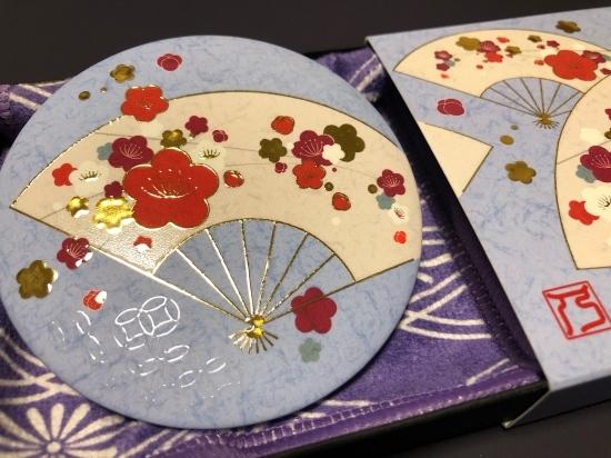 【手鏡】和柄レトロ/四季花 金彩手鏡《冬花~梅~》