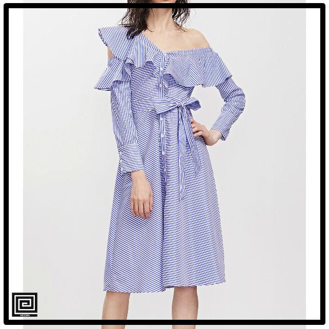スカートベルトシャツドレスオフブルーストライプアシメトリーフリル