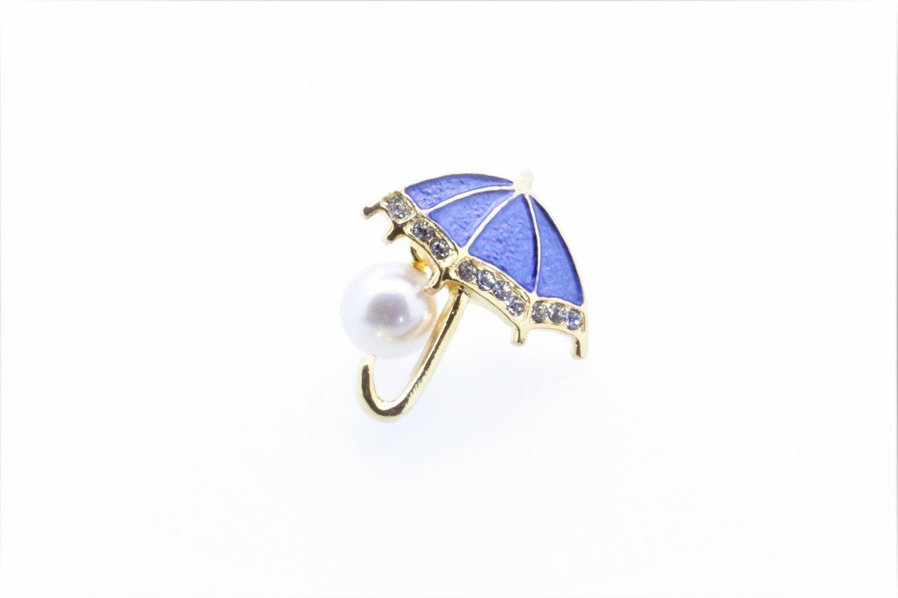 アコヤ真珠 ピンブローチ〈アンブレラ〉ブルー