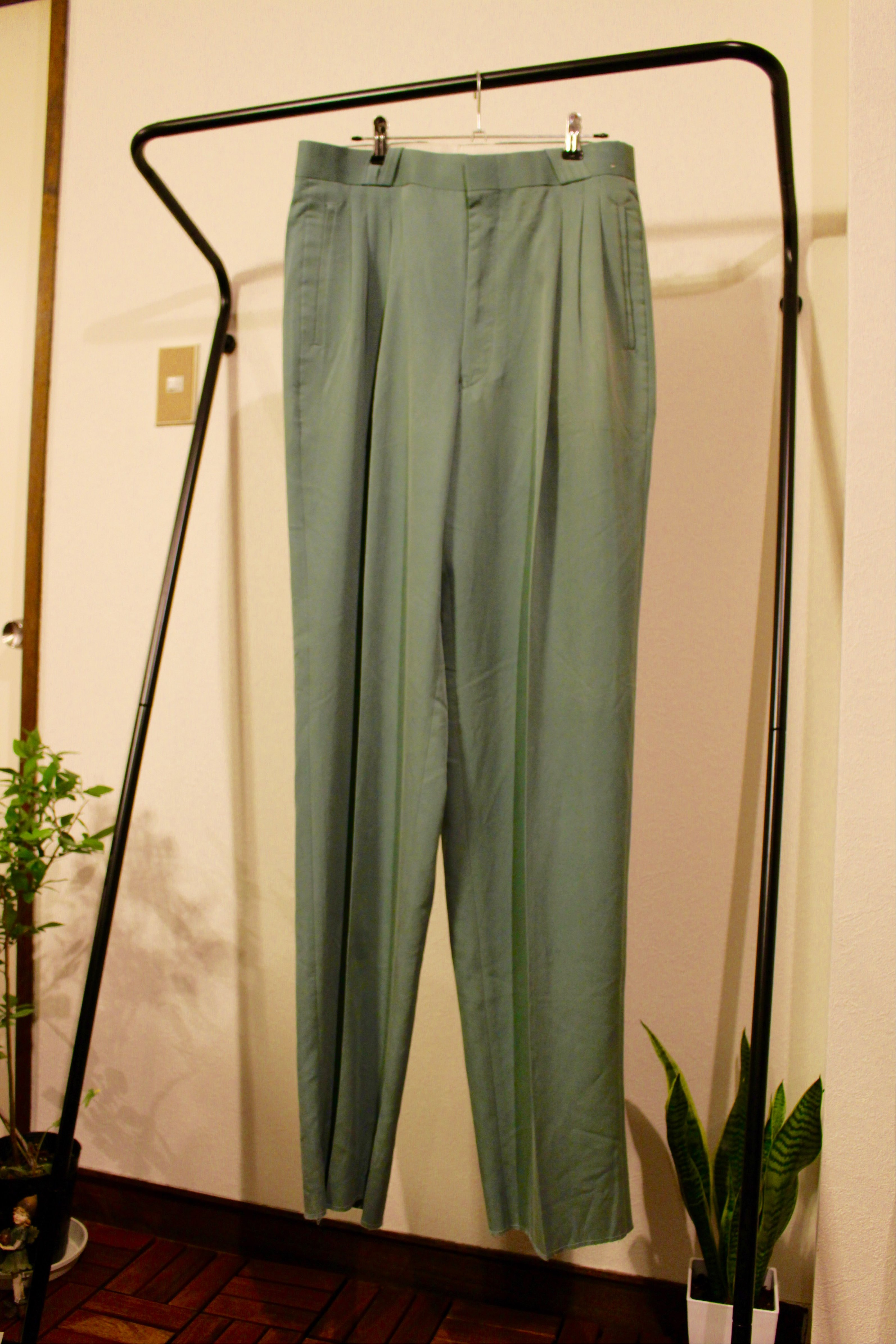 polyester green pants