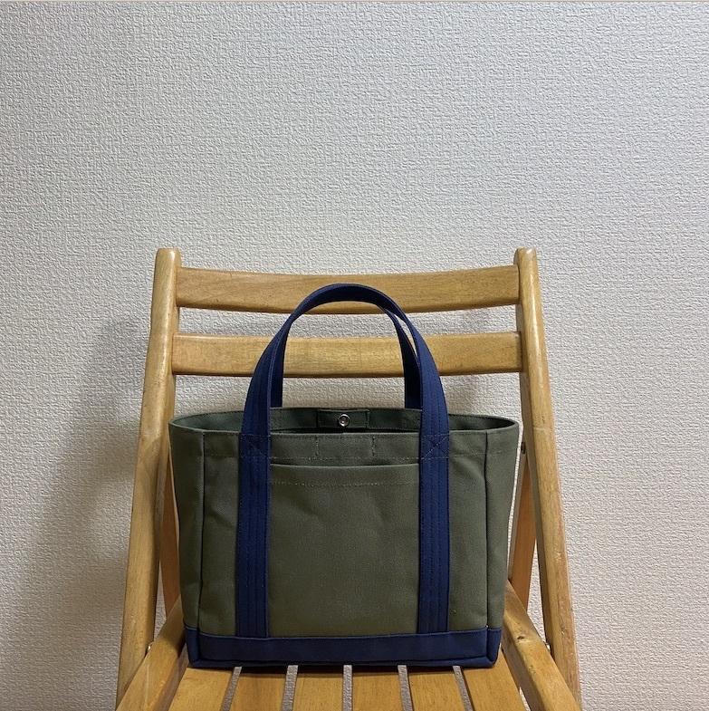 「軽いボックストート」小サイズ「オリーブ×ネイビー(紺)」帆布トートバッグ 倉敷帆布8号【受注制作】