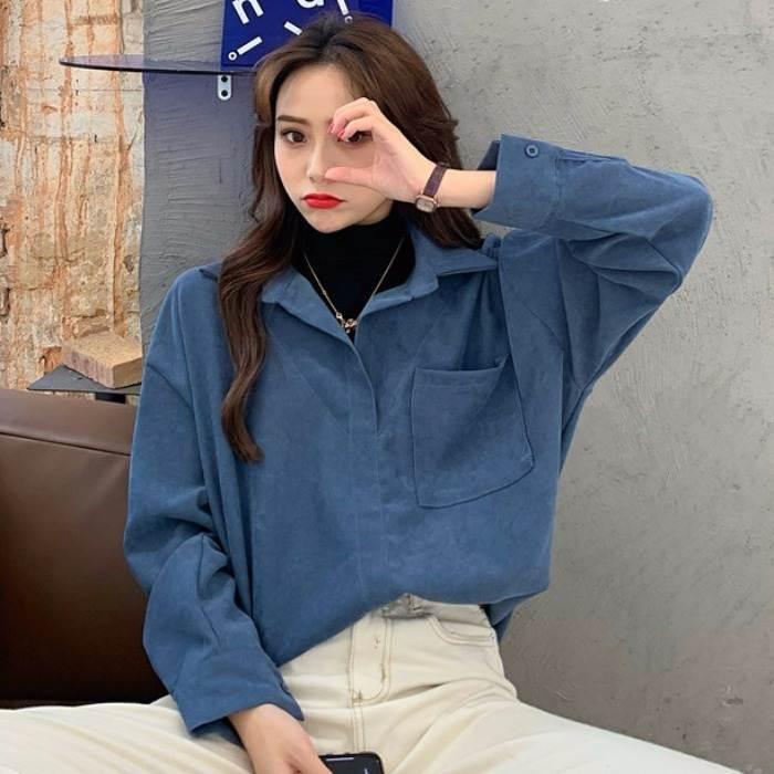 【送料無料】 1枚でサマになる♡ ハイネック カットソー カラー シャツ ドッキング レイヤード風 メンズライク トップス