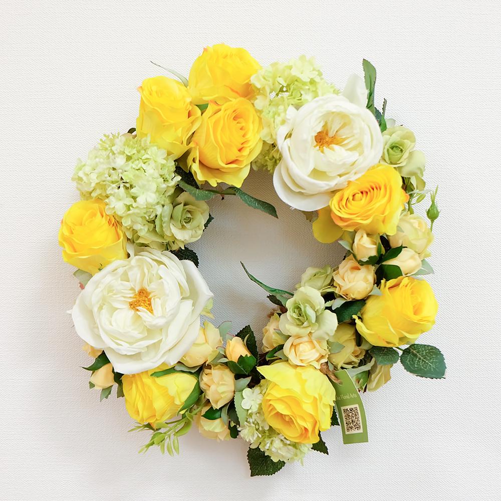 アートフラワーギフト!『フラワーリース』お花たっぷり・イエローグリーン