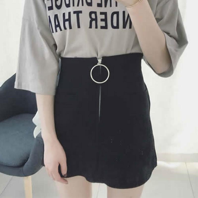 【bottoms】無地カジュアルハイウエストAラインスカート14276623