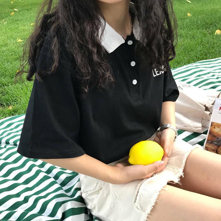 【送料無料】 カジュアルコーデに♡ バイカラー ポロシャツ風 トップス 英字ロゴ オーバーサイズ