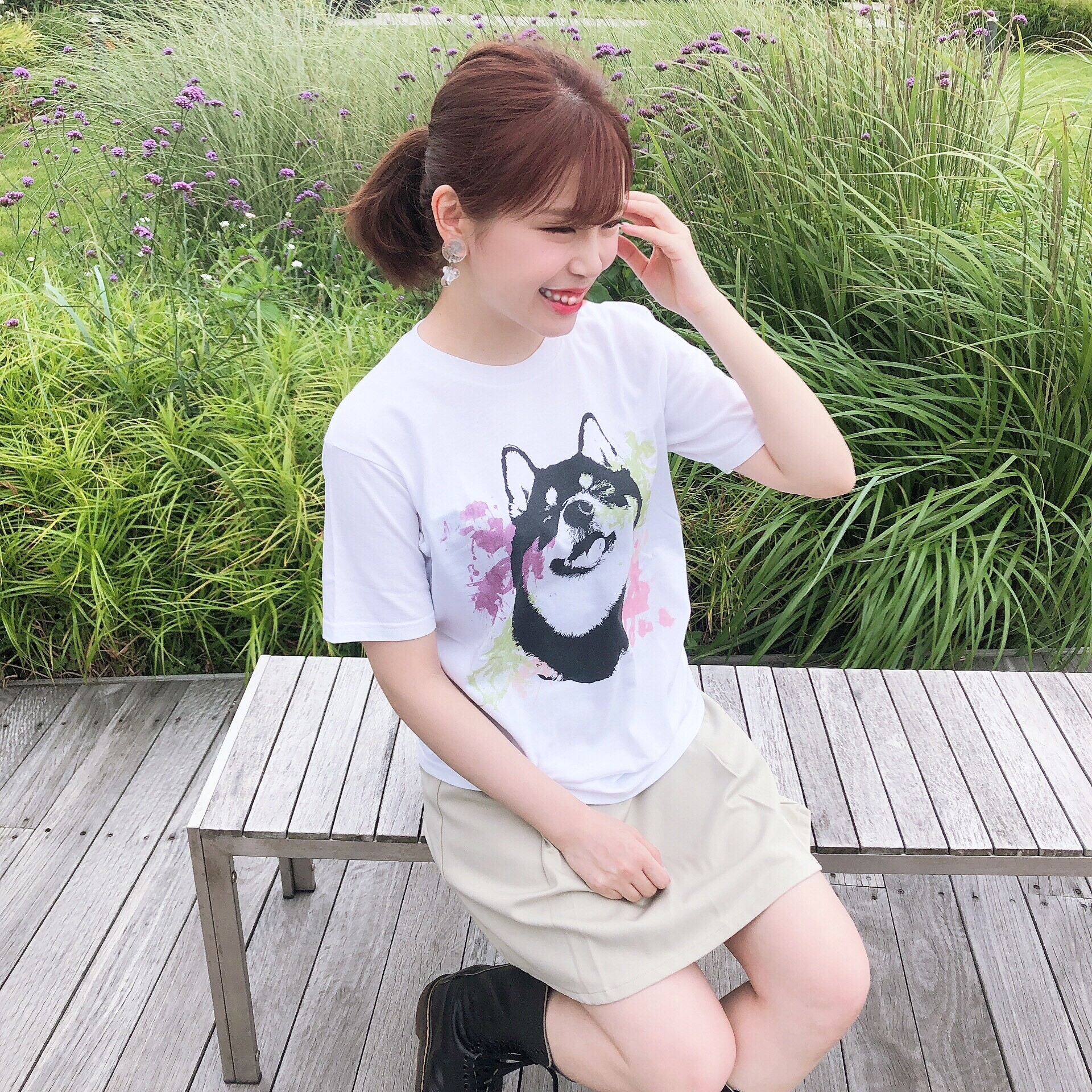 [受注] 水彩アートな柴犬半袖Tシャツ<男女兼用Mサイズ>
