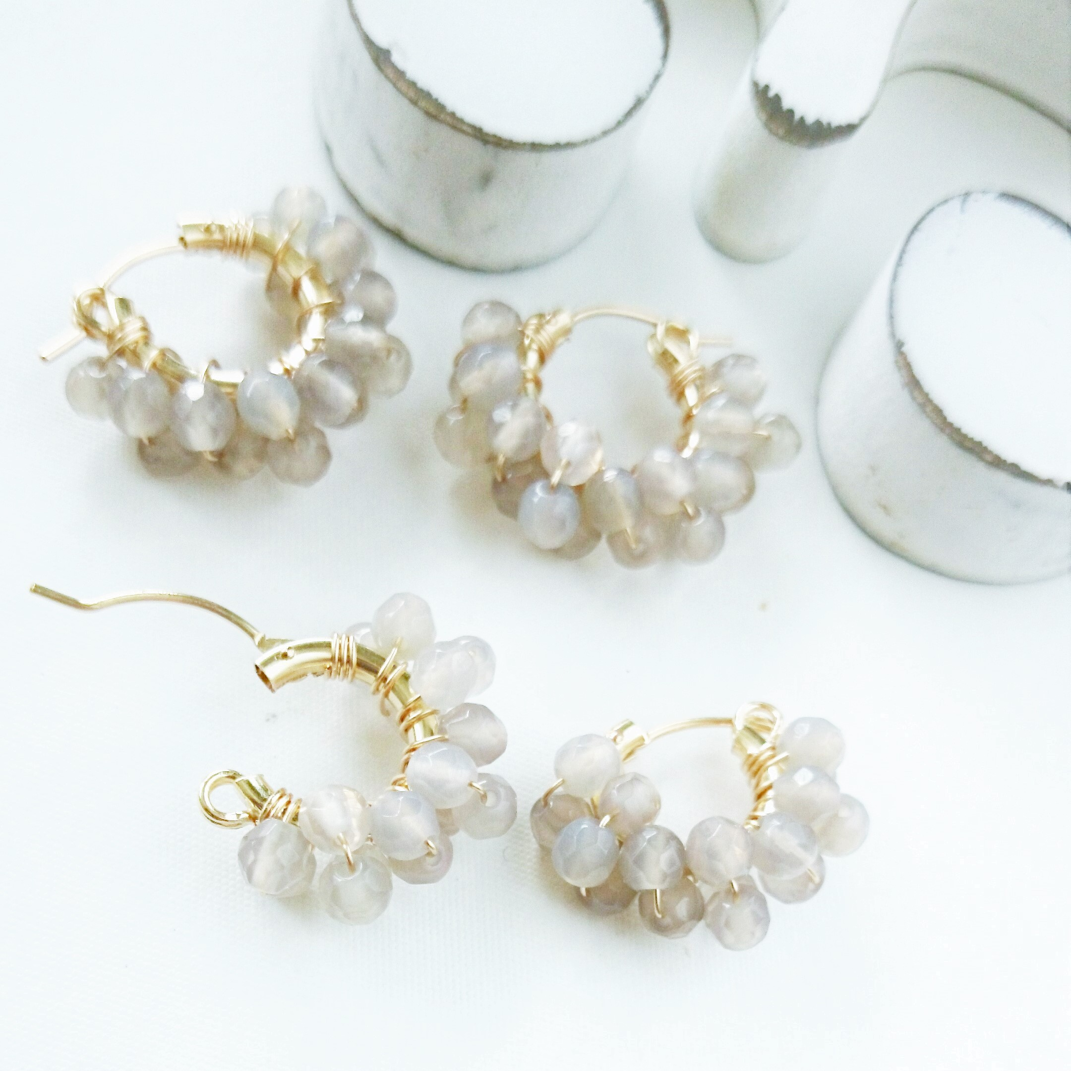 送料無料 14kgf*Gray Chalcedony W wrapped pierce/earring