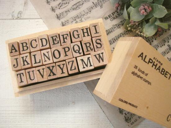 ウッドボックススタンプ*アルファベット/セレクト雑貨