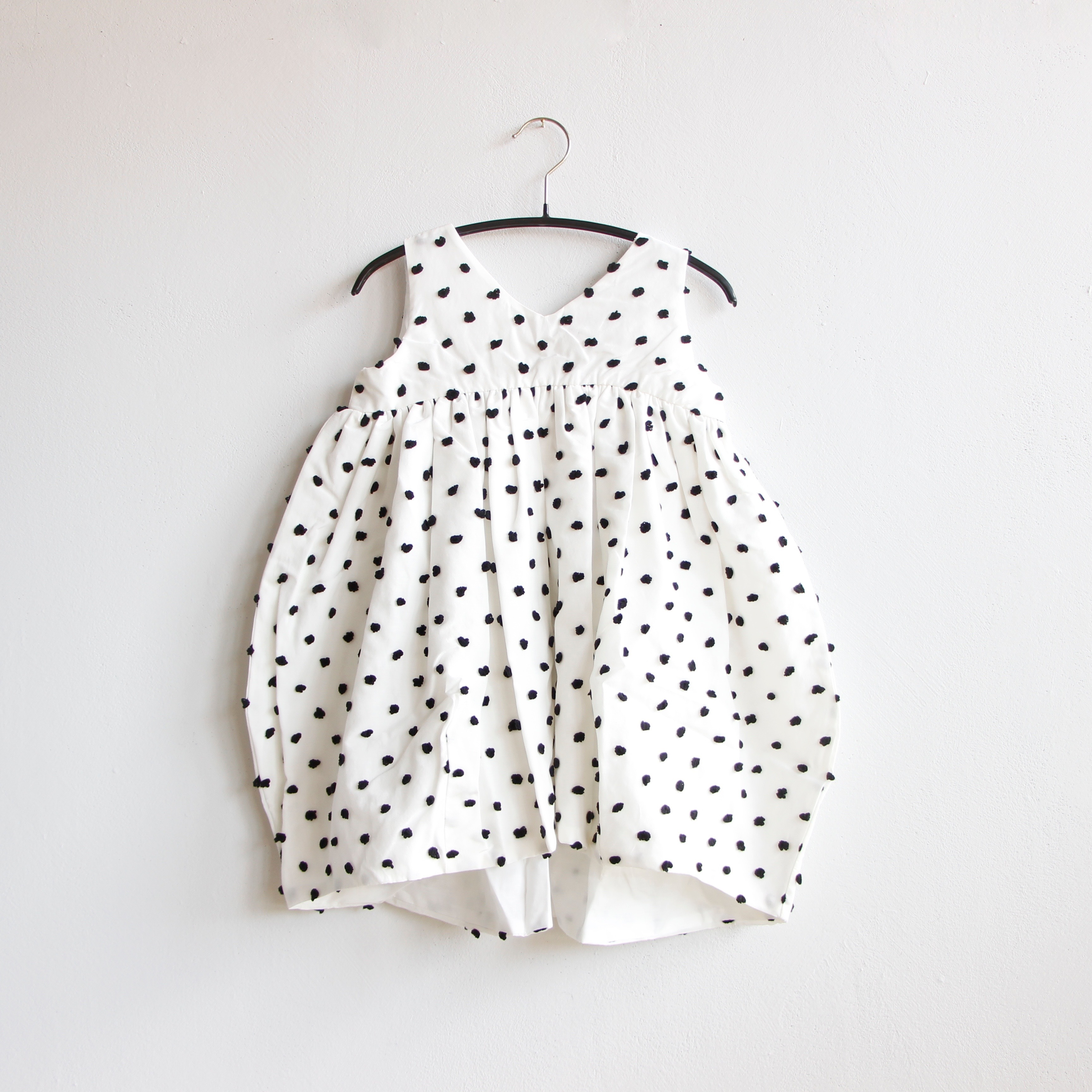 《frankygrow 2020SS》BONBON CUT JQ V-NECK DRESS / white × black bonbon / S・M・L