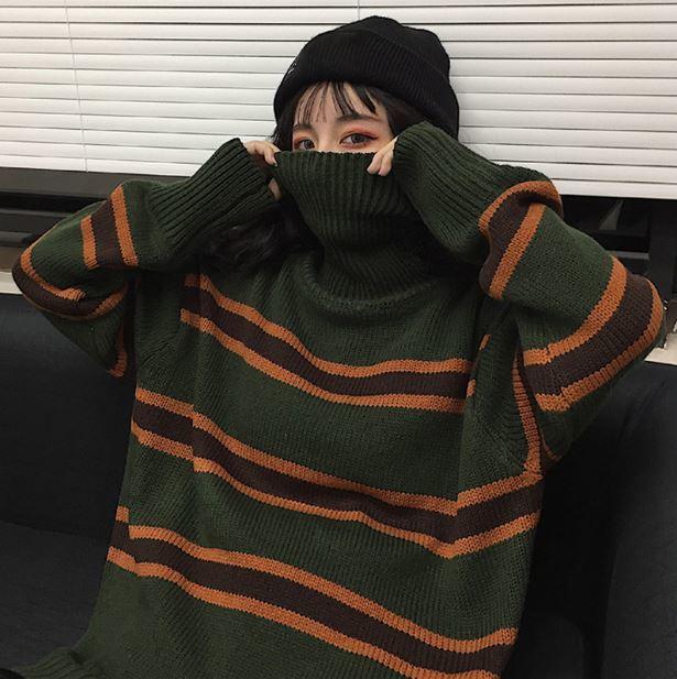 【送料無料】大きめカジュアルセーター♡ ストライプ柄 レトロ ゆったり オーバーサイズ