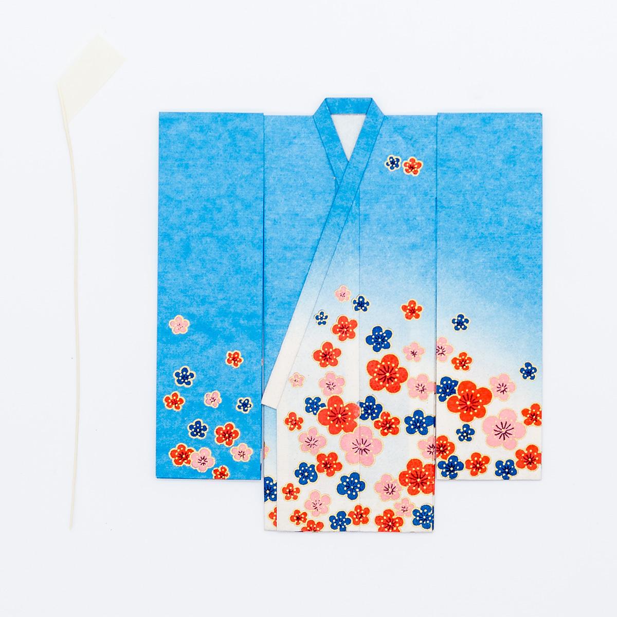 京の七夕さん(紙衣)お仕立上がり 女物柄 青色
