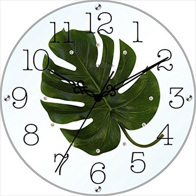 掛け時計 モンステラ アートフラワークロック SW-1186MO スターライン - 画像1