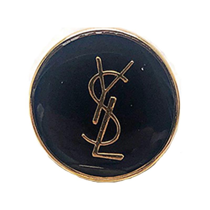 【VINTAGE SAINTLAURENT BUTTON】ブラック ゴールドロゴ ボタン (大)