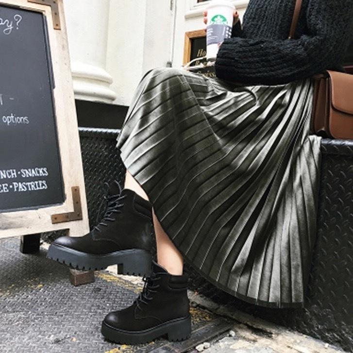 【即日発送】ベルベット プリーツ スカート 4カラー b151
