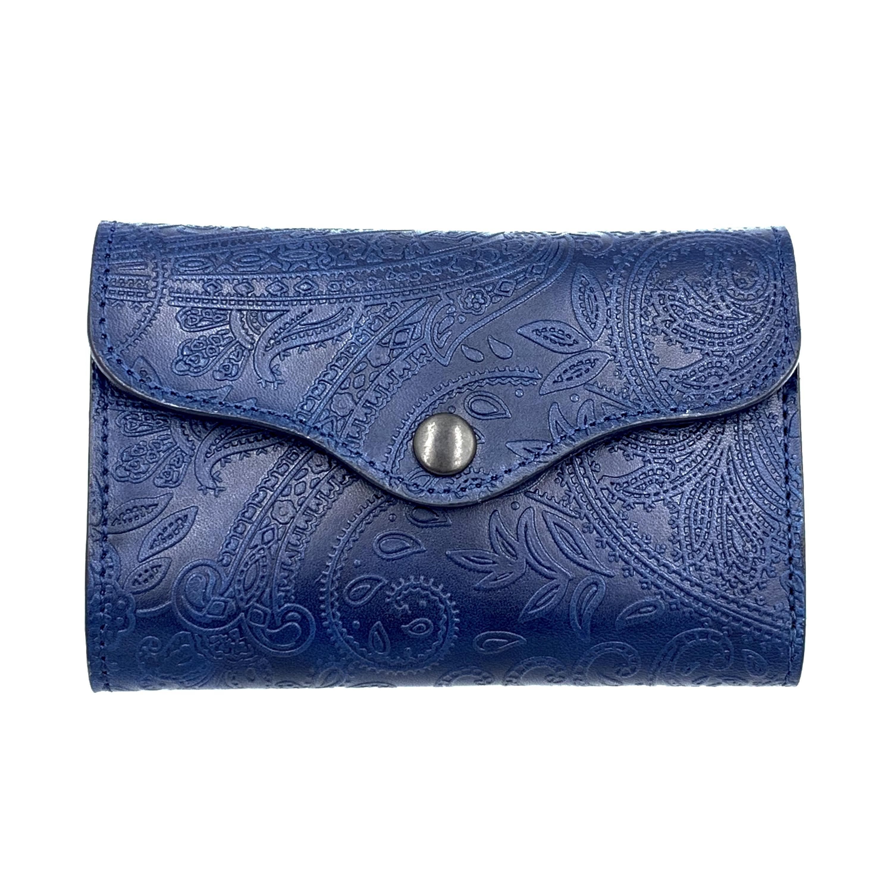 YONZY 三つ折りハーフ財布 ペイズリー革 ROYAL BLUE
