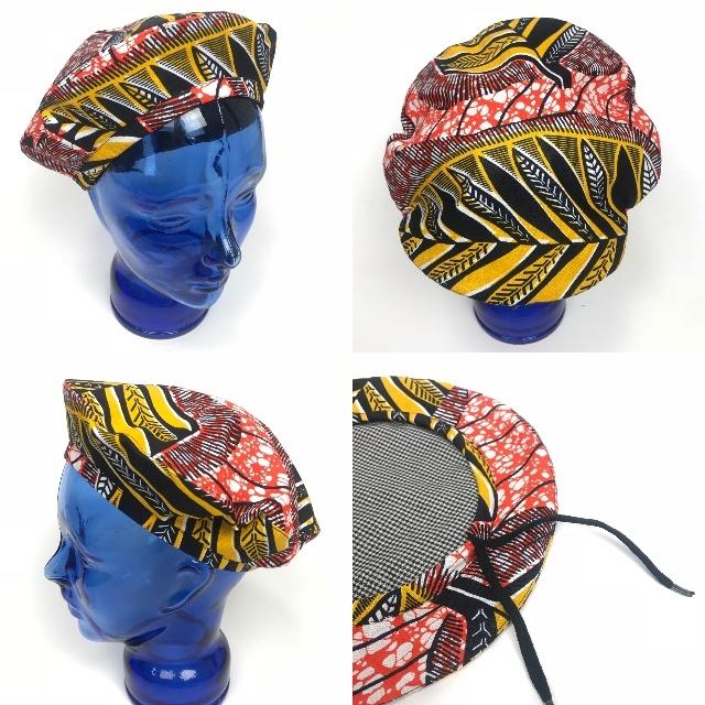 アフリカンプリントベレー帽 07