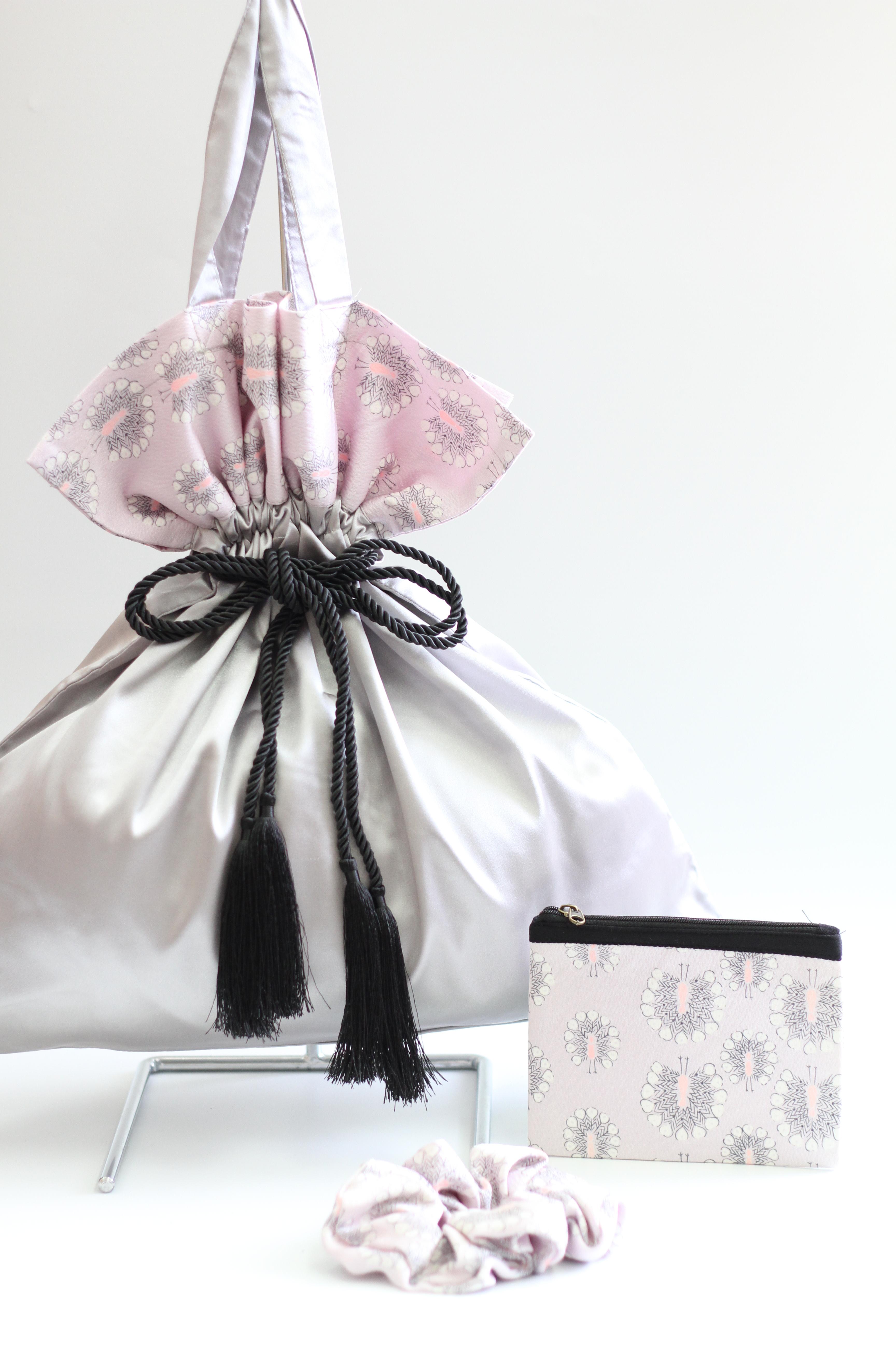 【KIMONO】キャンディバッグ・miniポーチ・シュシュの3点セット #19