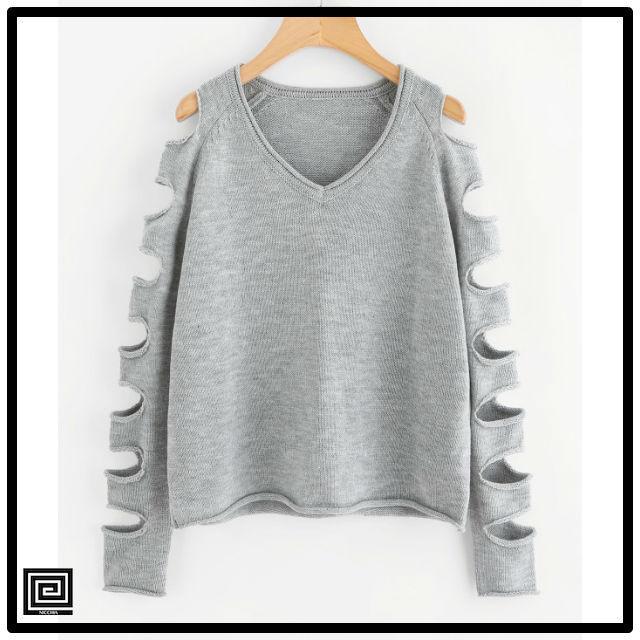 ラダーリングカットソーラグランスリーブセーター