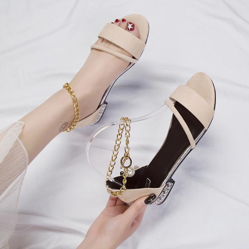 【shoes】ビーズ付き清新切り替えサンダル20697149