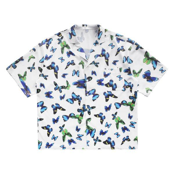 MAISON EMERALD Full Printed Butterfly Shirts WHITE