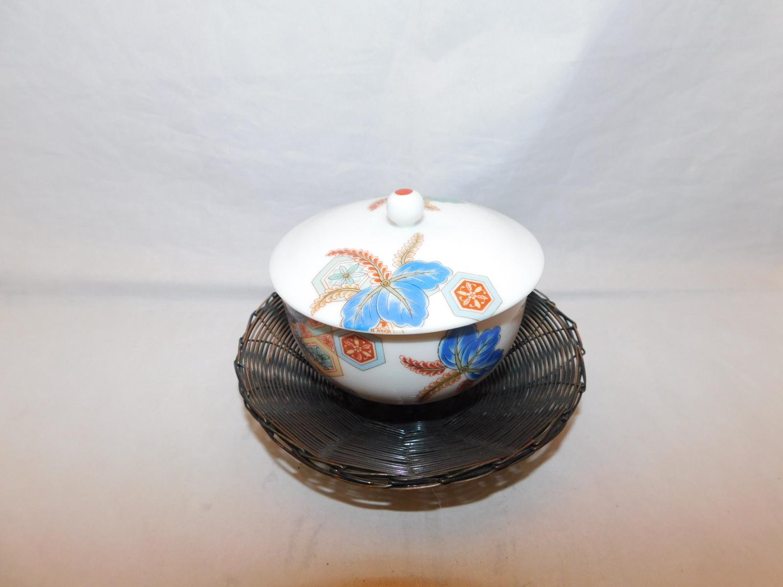 編目茶托(5客)metal Japanese tea five saucers (No18)