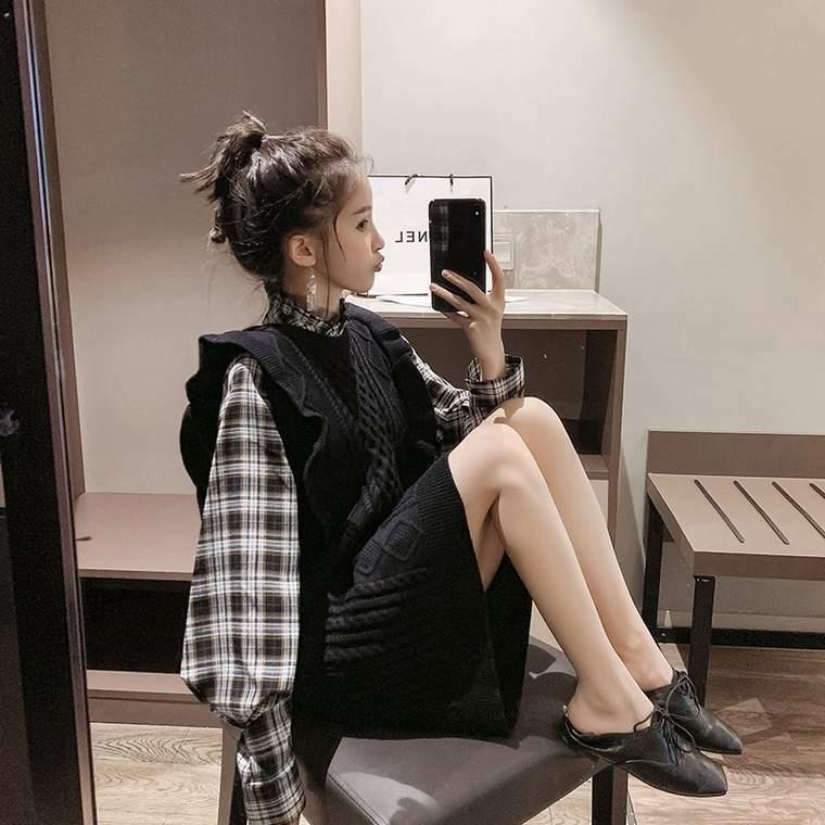 【送料無料】 大人女子に♡ チェック ランタンスリーブ シャツ × ケーブル ニット ノースリーブ ワンピース 2点セット