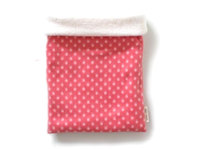 ハリネズミ用寝袋 L(冬用) フリース×フリース 水玉 ピンク 【販売終了】