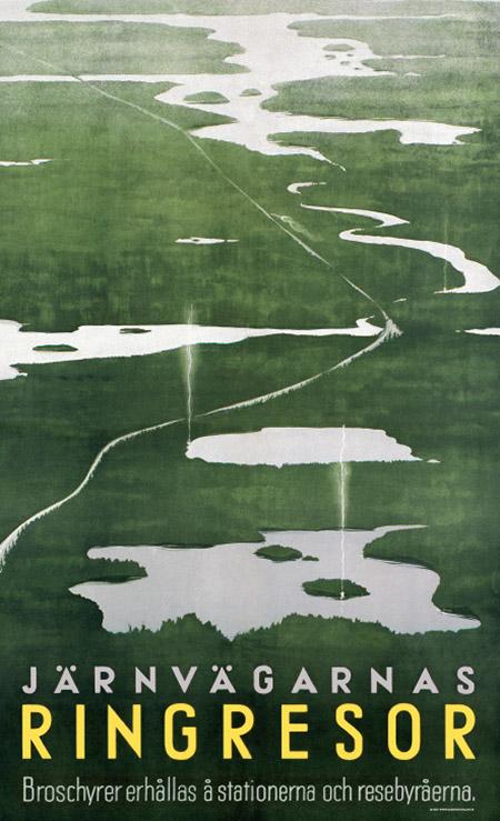 レトロポスター 50x70 「湖とコテージ」1937年