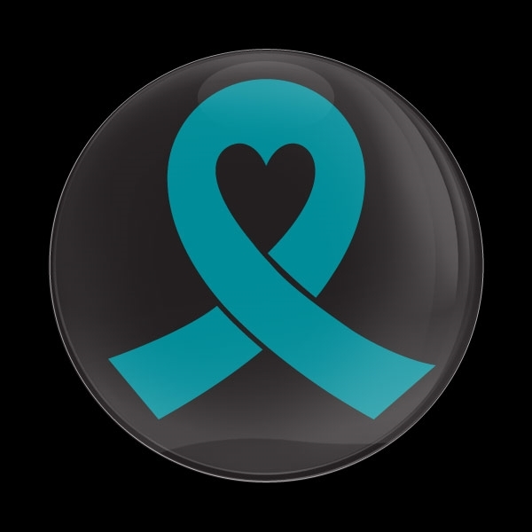 ゴーバッジ(ドーム)(CD0982 - TEAL RIBBON BLACK (OVARIAN CANCER)) - 画像1
