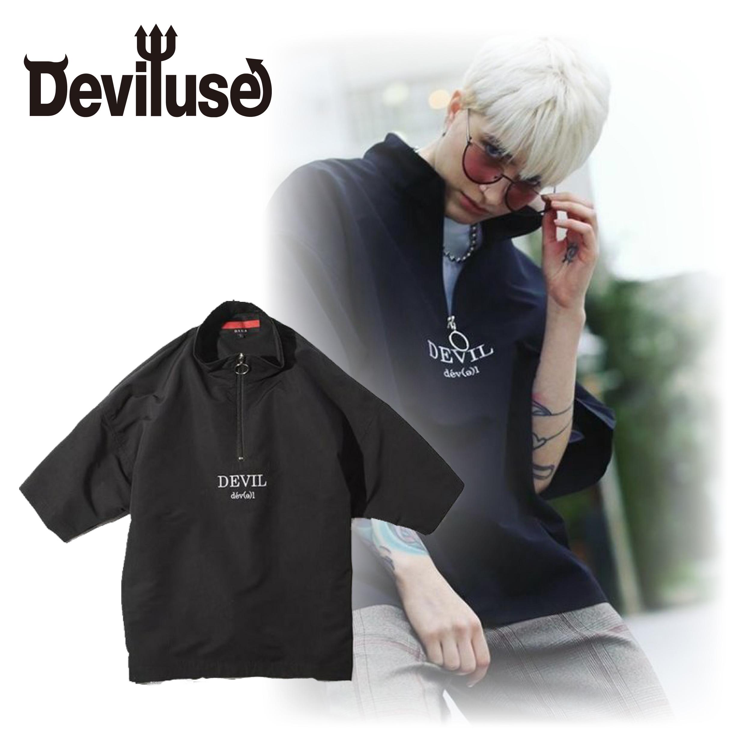 Deviluse(デビルユース) | Harf Zip Shirts (Black)
