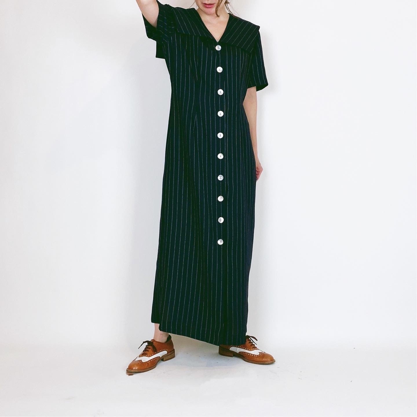 ◼︎80s vintage sailor collar stripe rayon dress from U.S.A.◼︎