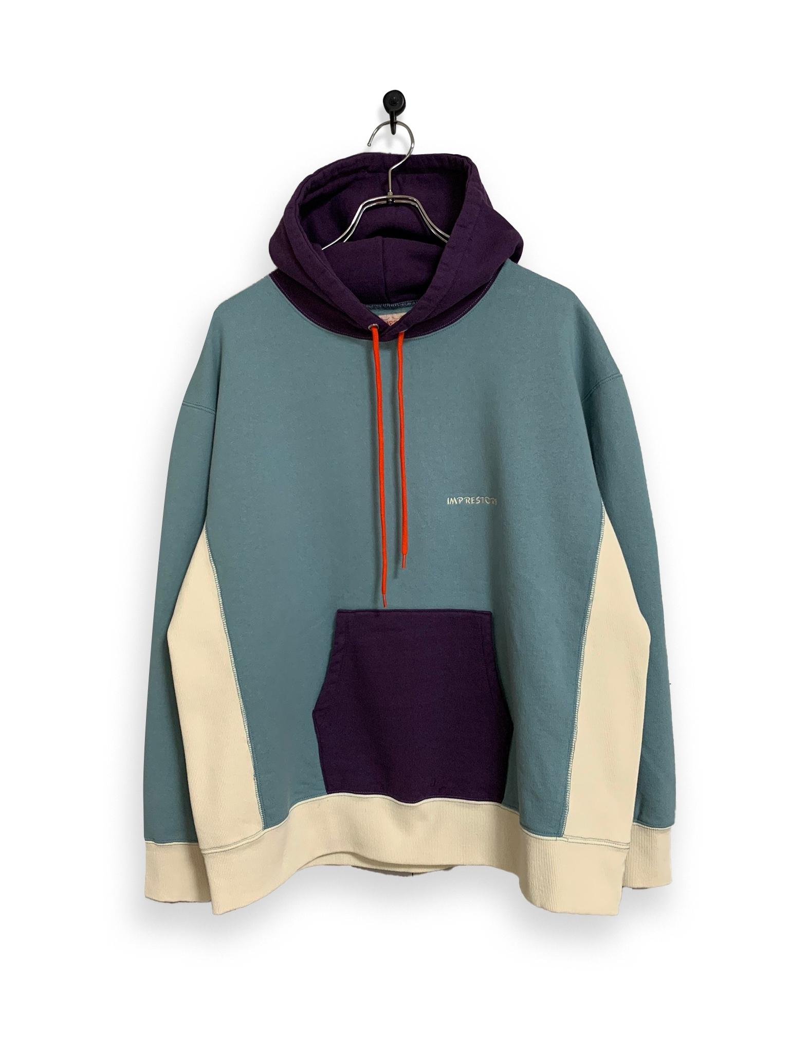 Original Hooded Sweatshirt / 3tone / sax blue × purple × white