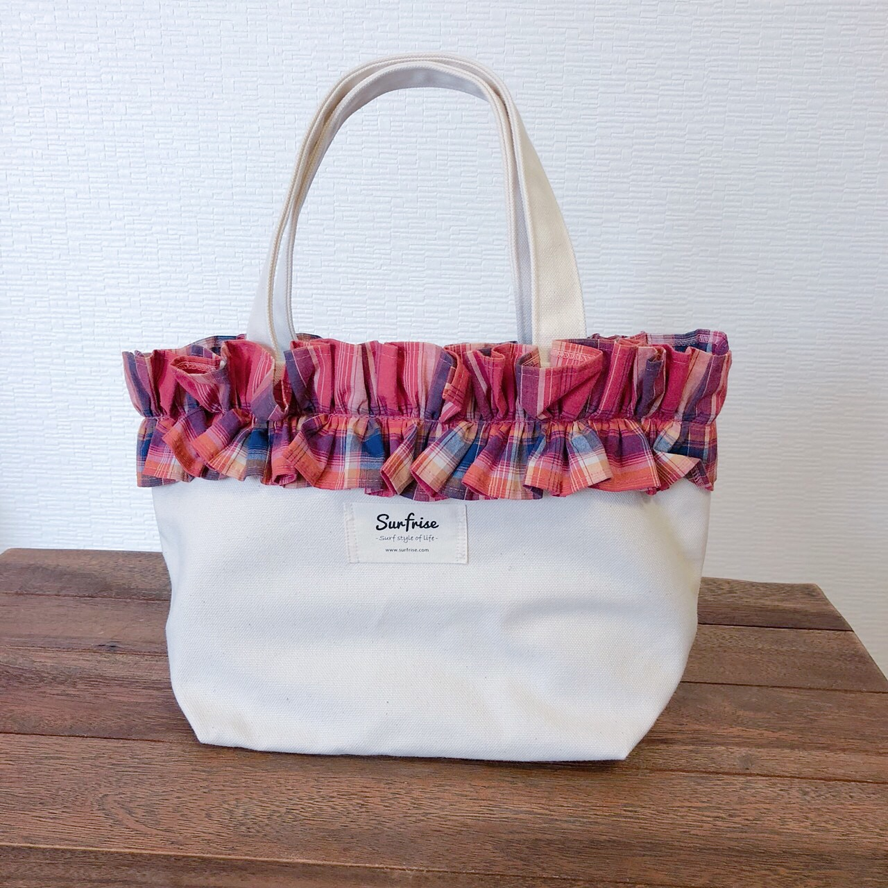 Fluffy bag - White/Check
