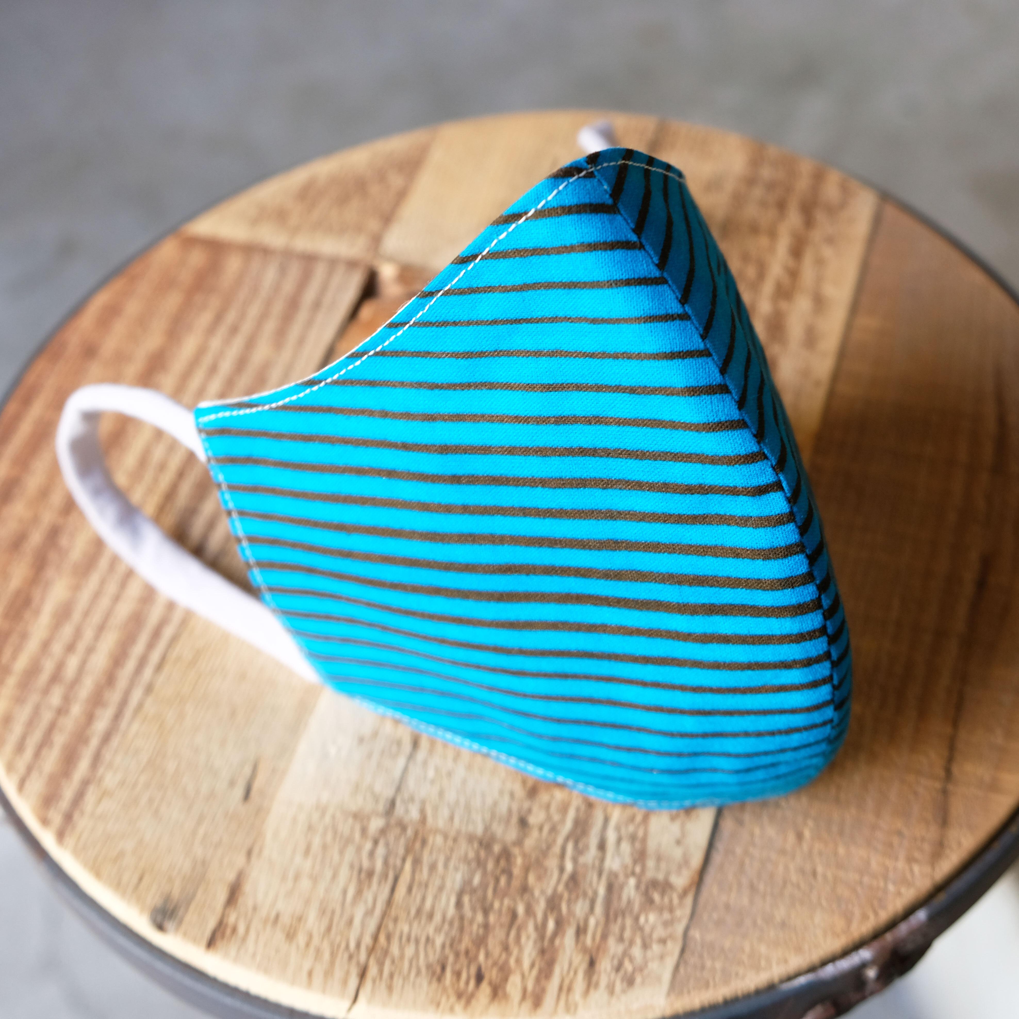 アフリカ布で作った銅繊維シート入りマスク/横ライン