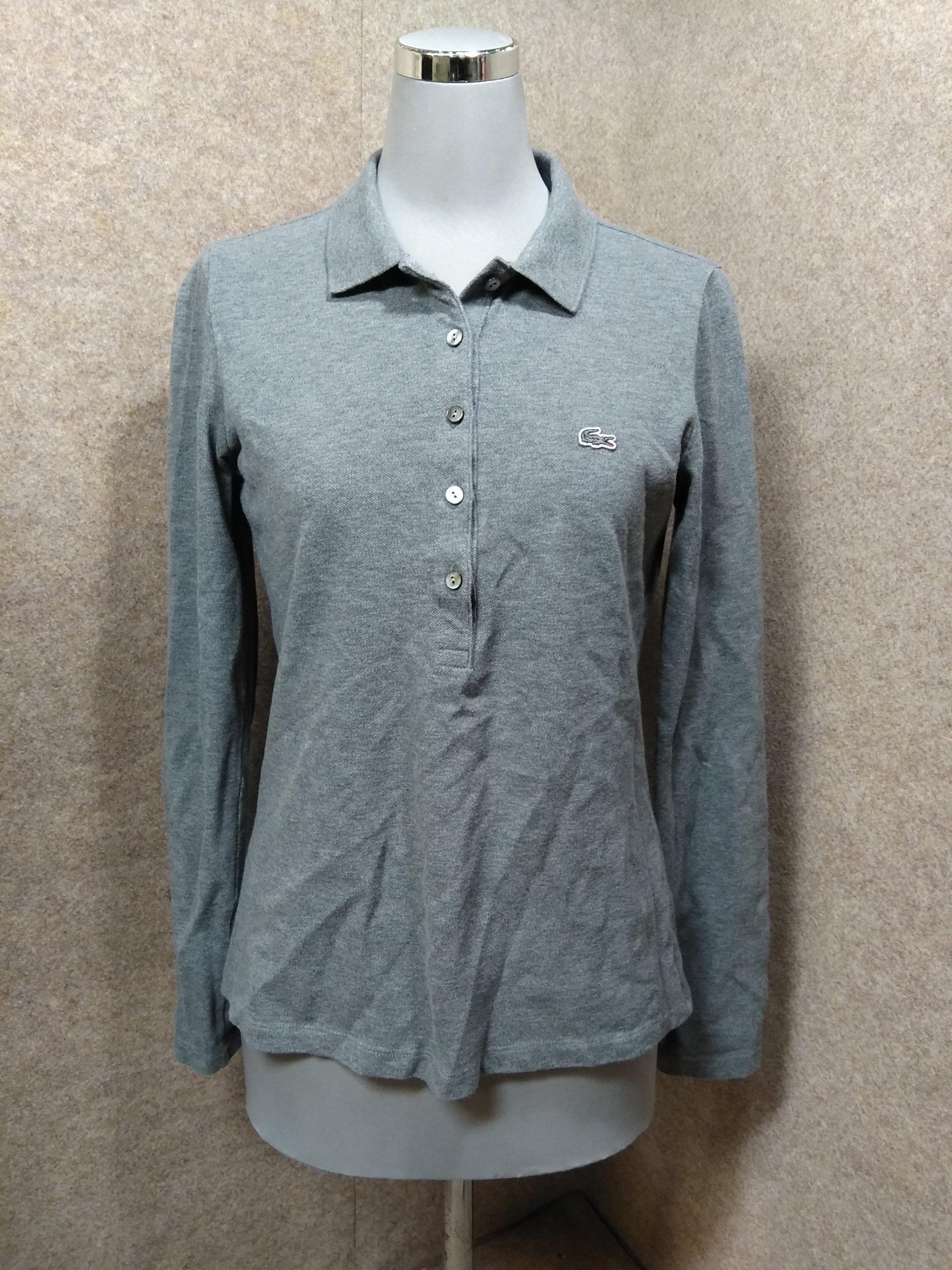 ラコステ レディース ポロシャツ 長袖 36 グレー y1407j