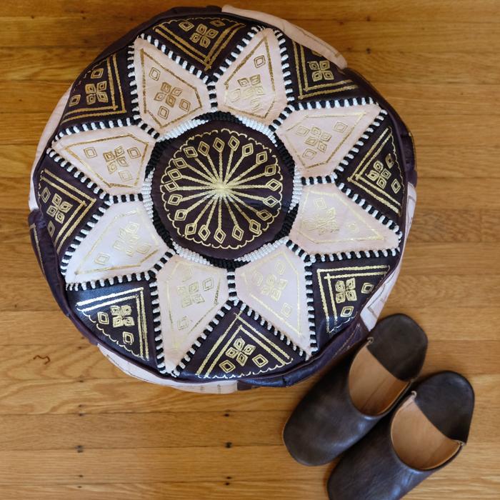 プフ・オットマン・革スツール  / brown /m9a/ MOROCCO モロッコ