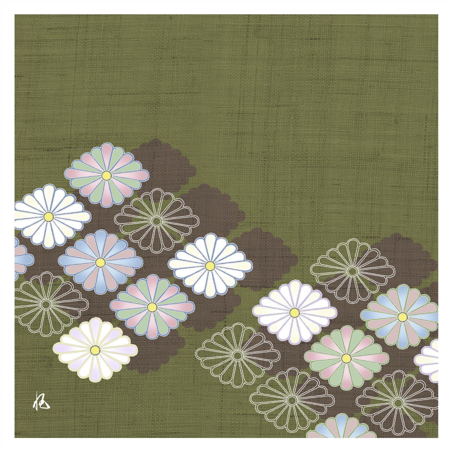 ガラス皿「そめゆら」K-16 菊紋 グリーン