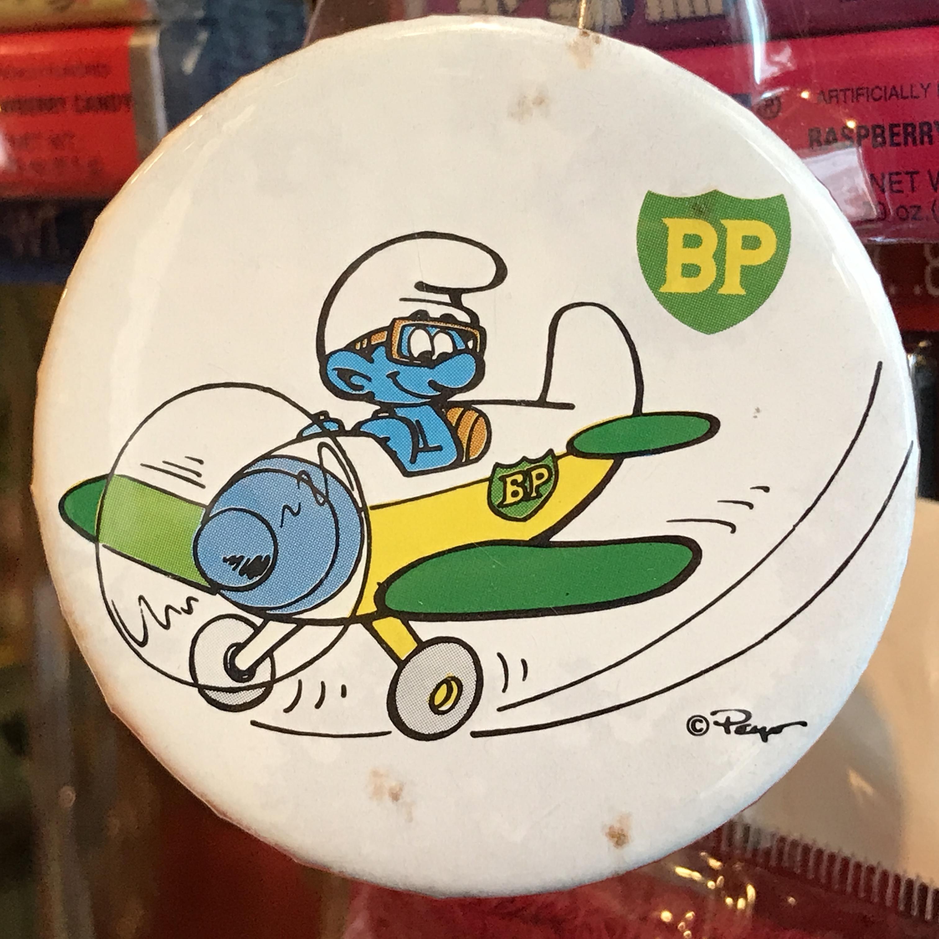 スマーフ 80's BP 企業物 オールド 缶バッジ 飛行機ver.