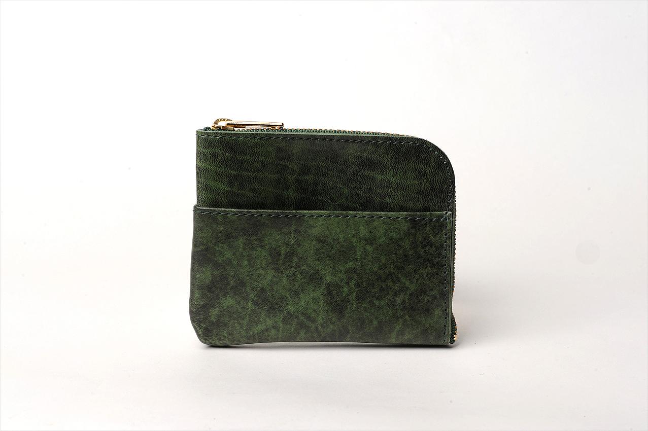L型ミニウォレット(アニリン仕上げ) カラー:グリーン