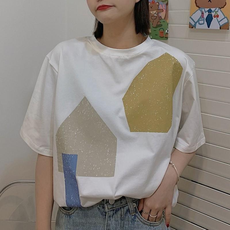 【tops】配色カジュアルラウンドネックTシャツ27310959