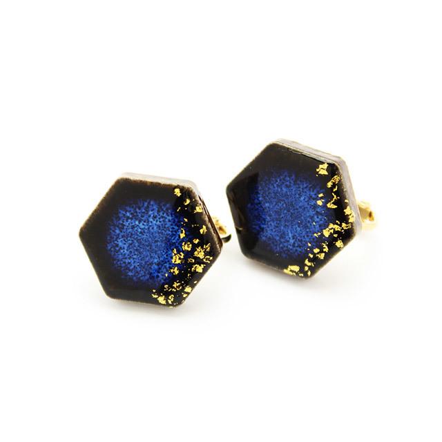 伝統工芸品 美濃焼 六角形 星屑のイヤリング&ピアス 藍色