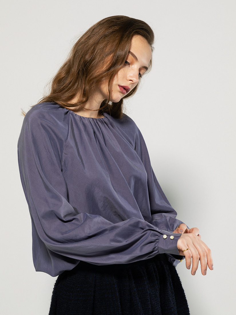 cotton silk gathered blouse