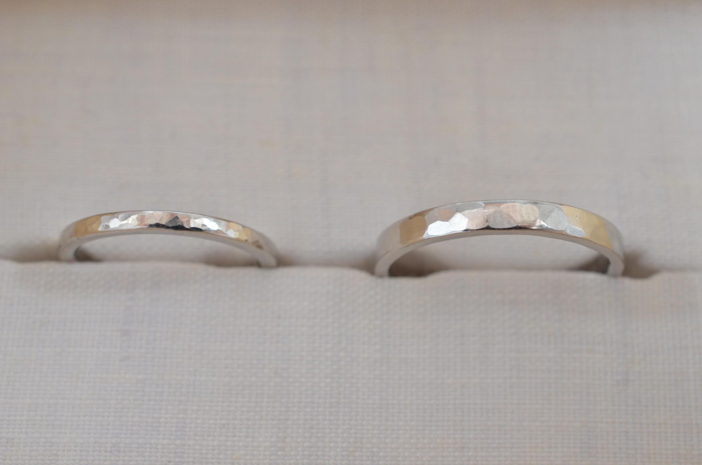 結婚指輪 Pt950 / 角 / 鎚目