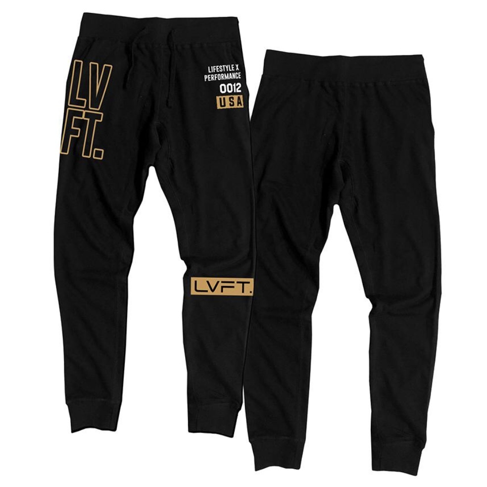 LIVE FIT Outline Stacked Joggers - Gold/Black