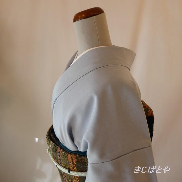 正絹紬 白縹(しろはなだ)色の無地 袷