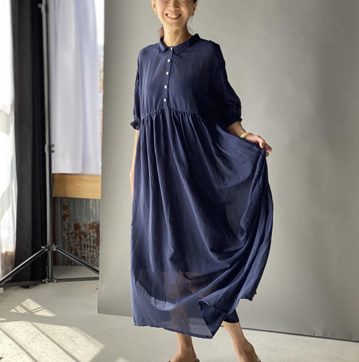 【2020SSnew】ギャザー衿付きドレス