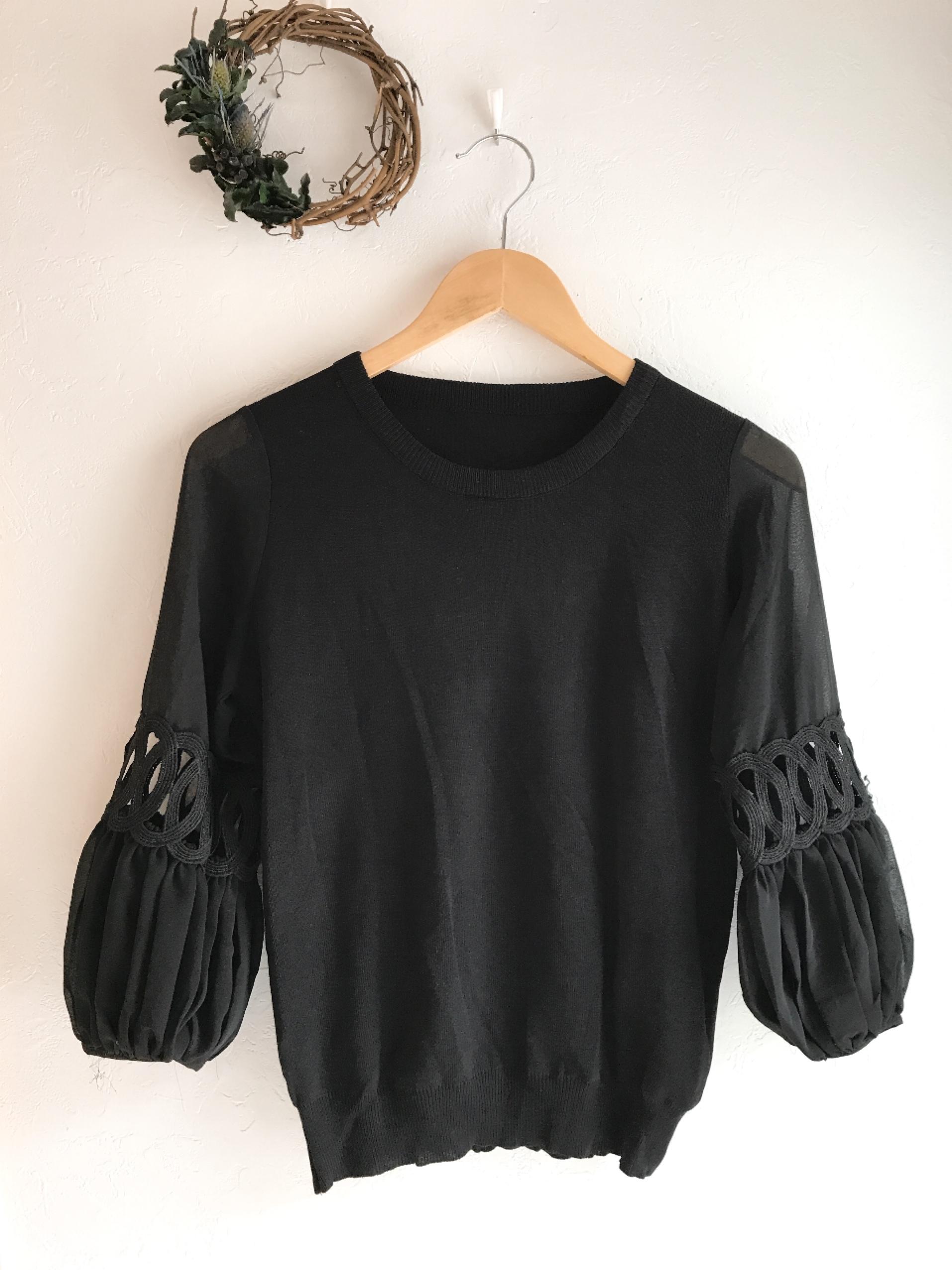 シースルー七分袖の上品ニット ブラック