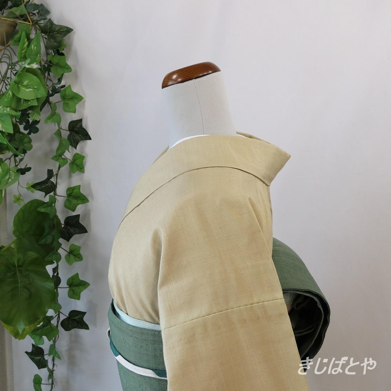 正絹紬 藁色の無地 単衣