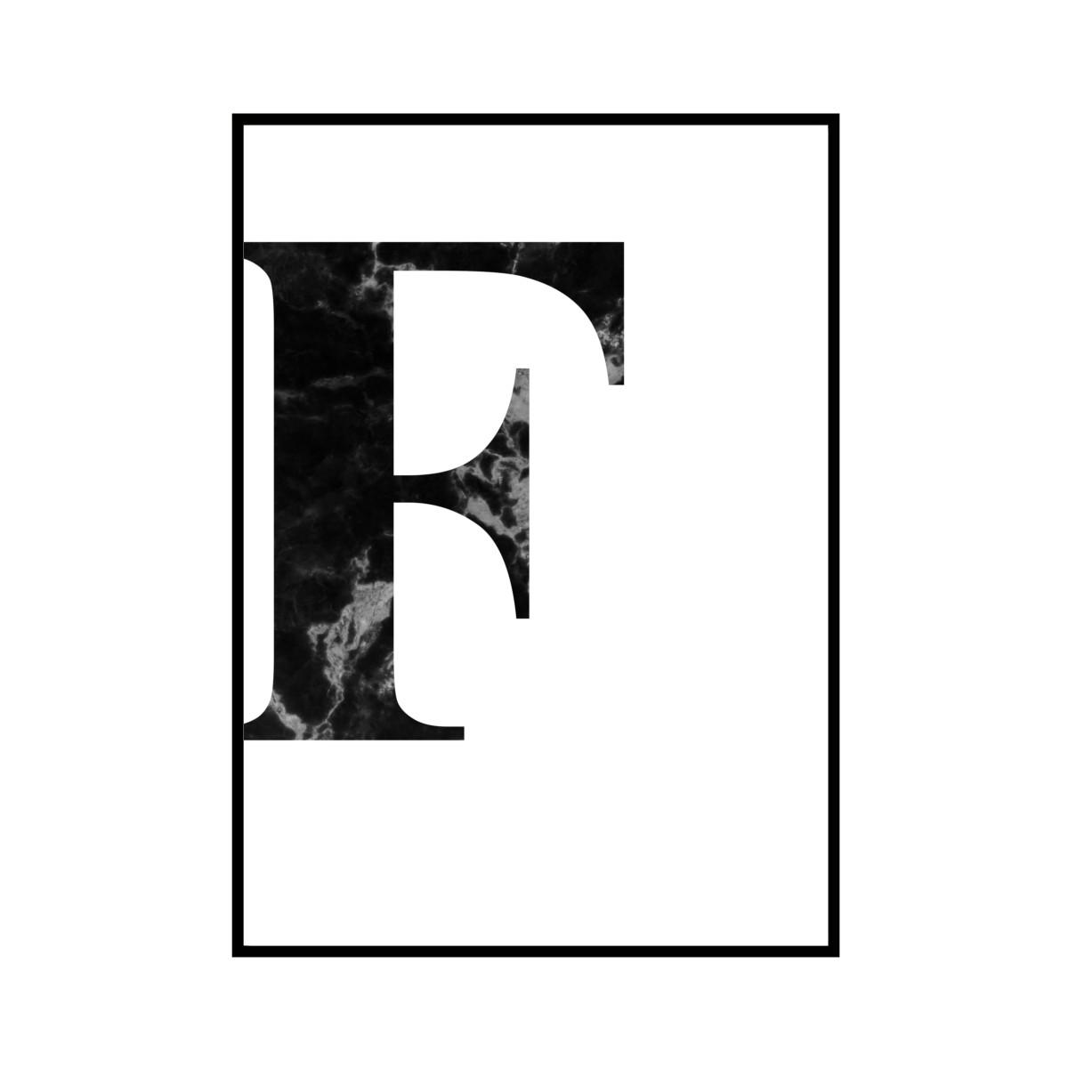 """""""F"""" 黒大理石 - Black marble - ALPHAシリーズ [SD-000507] A1サイズ ポスター単品"""